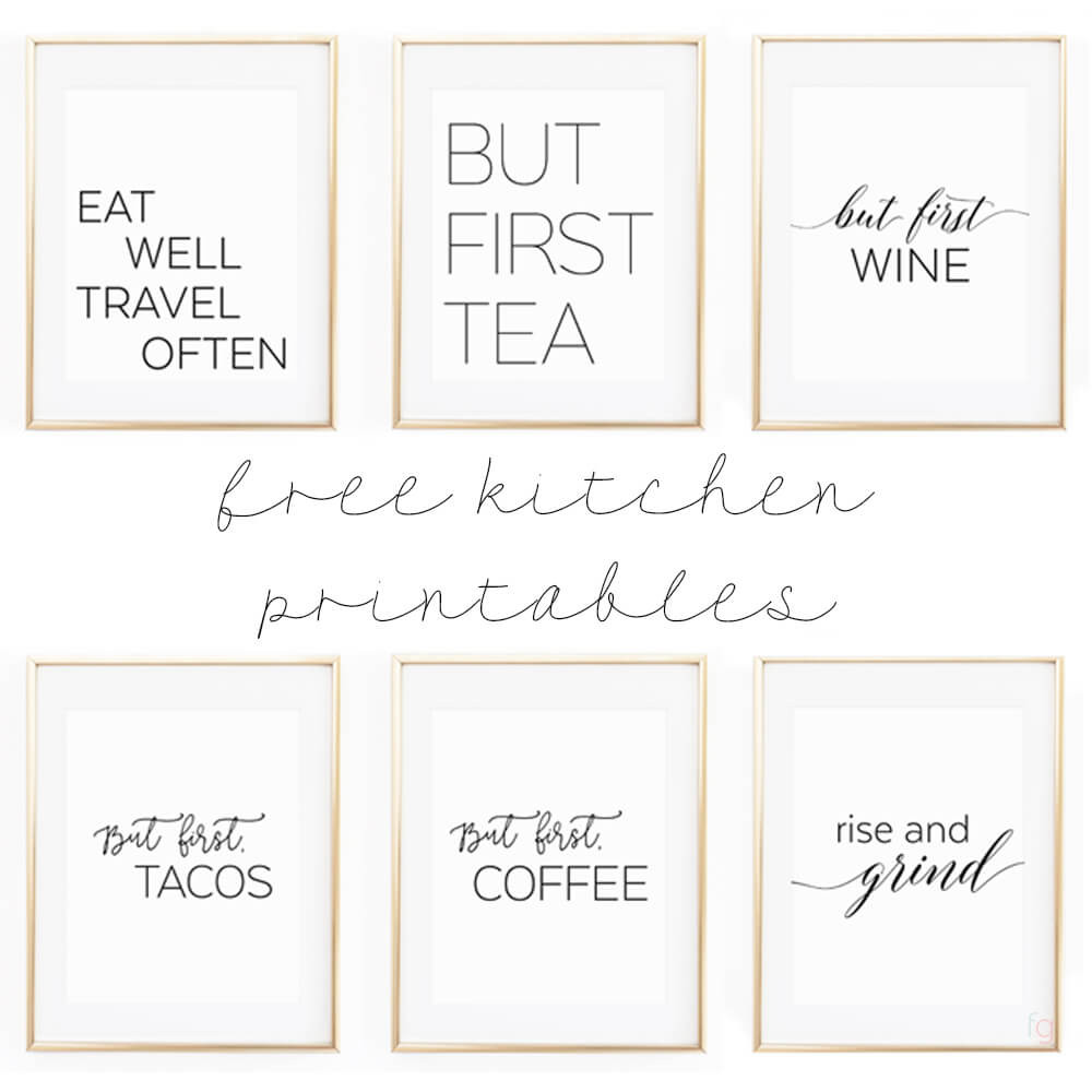 """Best ideas about Printable Wall Art . Save or Pin Free Printable Kitchen Wall Art 8x10"""" Set of Six Prints Now."""