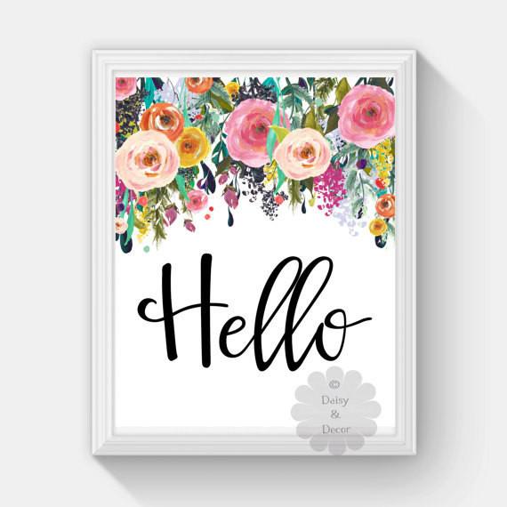 Best ideas about Printable Wall Art . Save or Pin hello saying printable wall art nursery playroom print home Now.