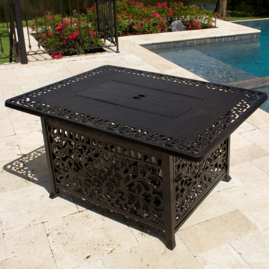 Best ideas about Propane Fire Pit Coffee Table . Save or Pin Coffee Table Inch Rectangular Cast Aluminum Propane Fire Now.