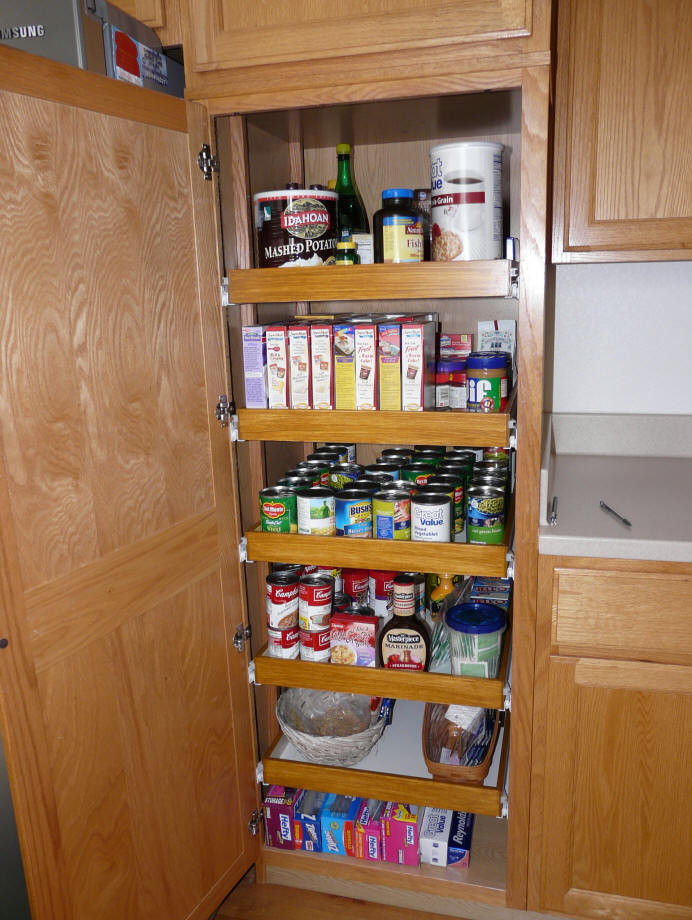 Best ideas about Pull Out Shelves For Pantry . Save or Pin Kitchen pantry cabinet pull out shelf storage sliding shelves Now.