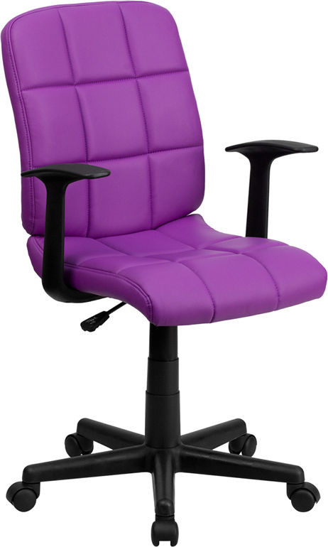 Best ideas about Purple Office Chair . Save or Pin Mid Back Purple Quilted Vinyl Task Chair with Nylon Arms Now.
