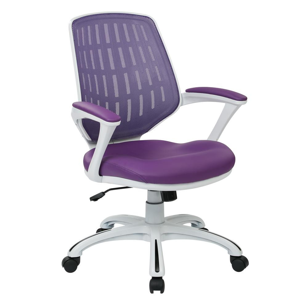 Best ideas about Purple Office Chair . Save or Pin Ave Six Calvin White Frame fice Chair with Purple Mesh Now.