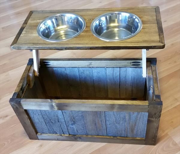 Best ideas about Raised Dog Bowls DIY . Save or Pin DIY Pallet Raised Dog Feeder with Storage Now.