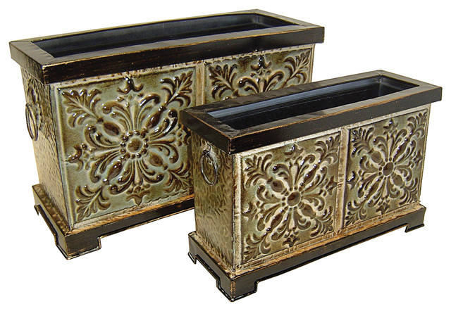 Best ideas about Rectangular Indoor Planter . Save or Pin Cheungs Home Decorative Set of 2 Rectangular Metal Now.