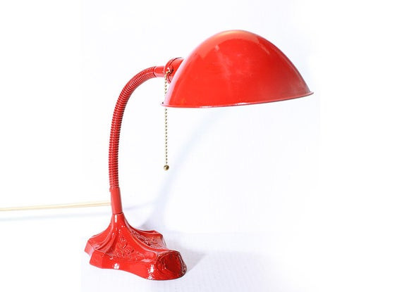 Best ideas about Red Desk Lamp . Save or Pin Vintage Gooseneck Red Metal Electric Desk Lamp Now.