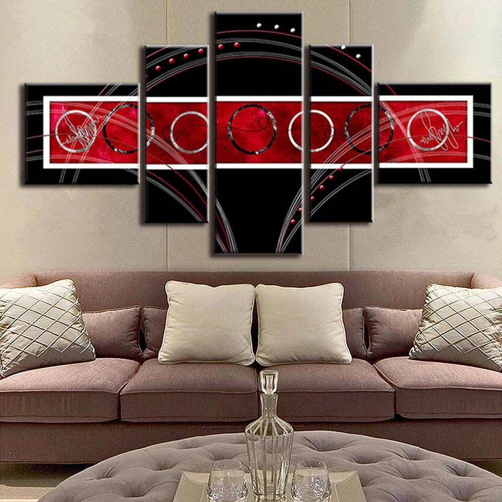 Best ideas about Red Wall Art . Save or Pin Abstract Wall Art Red Black Circle Modern Canvas Print Now.