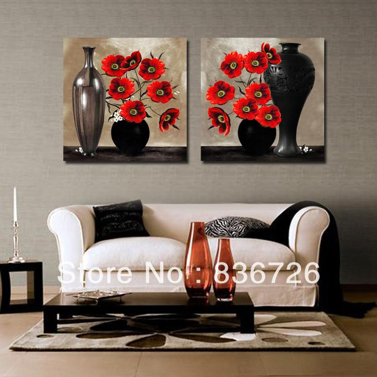 Best ideas about Red Wall Art . Save or Pin 2 piece canvas wall art Abstract paintings black and red Now.