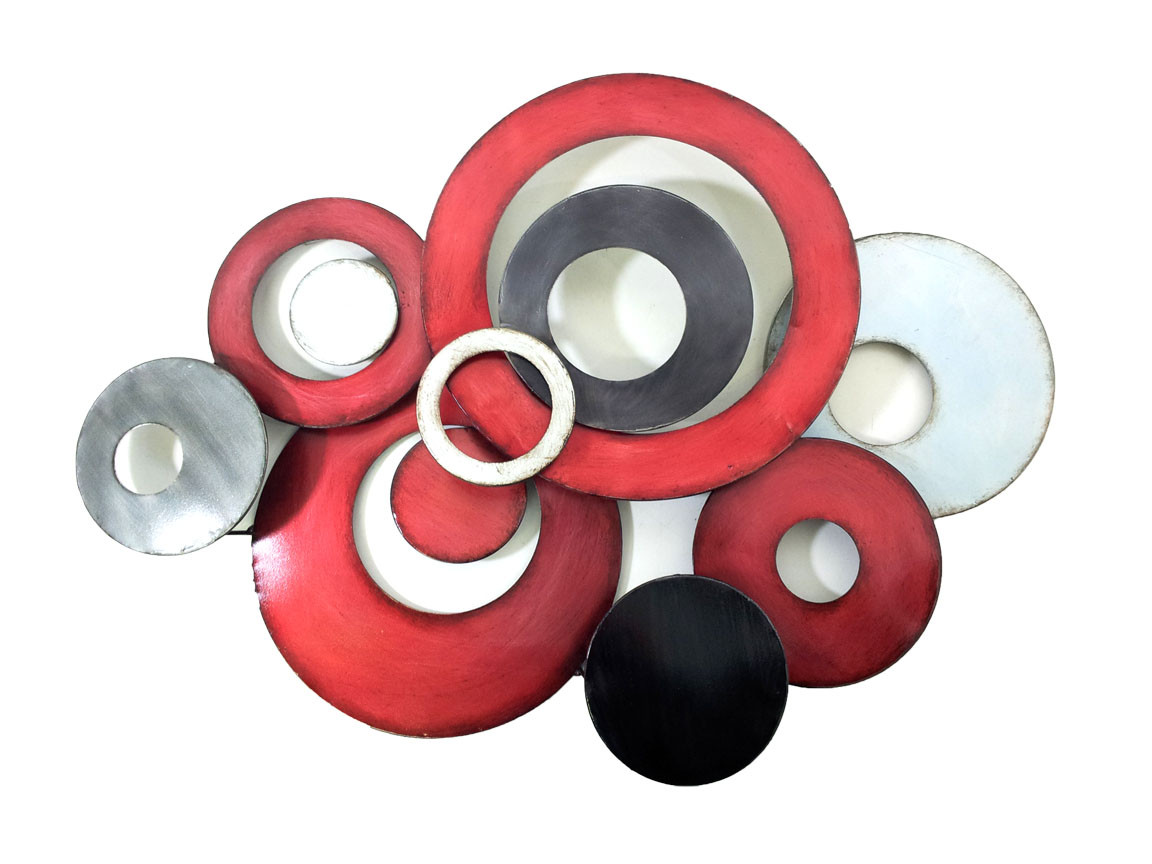 Best ideas about Red Wall Art . Save or Pin Metal Wall Art Red Linked Circle Disc Abstract Now.