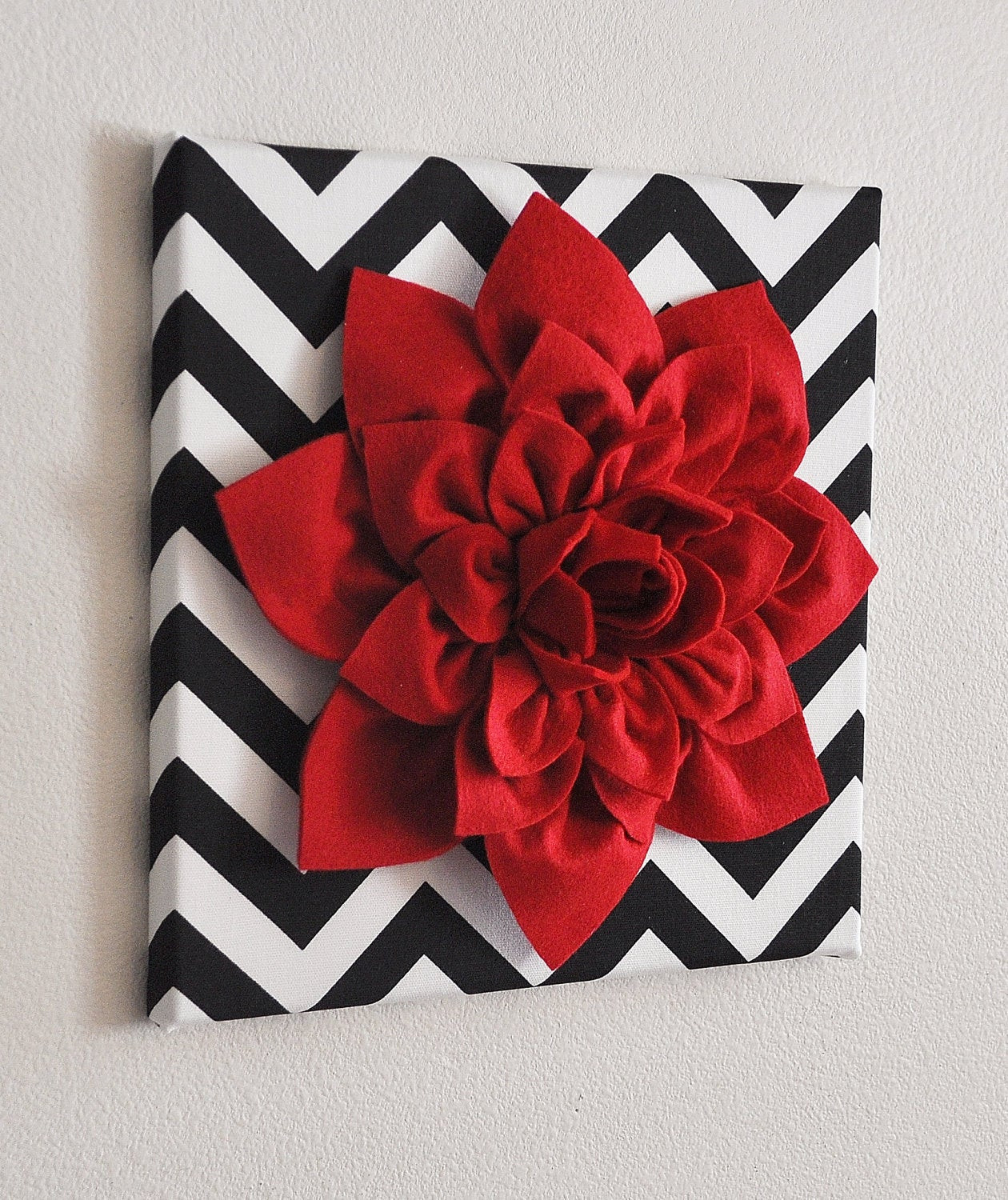 Best ideas about Red Wall Art . Save or Pin Red Wall Flower Red Dahlia on Black and White Chevron by Now.