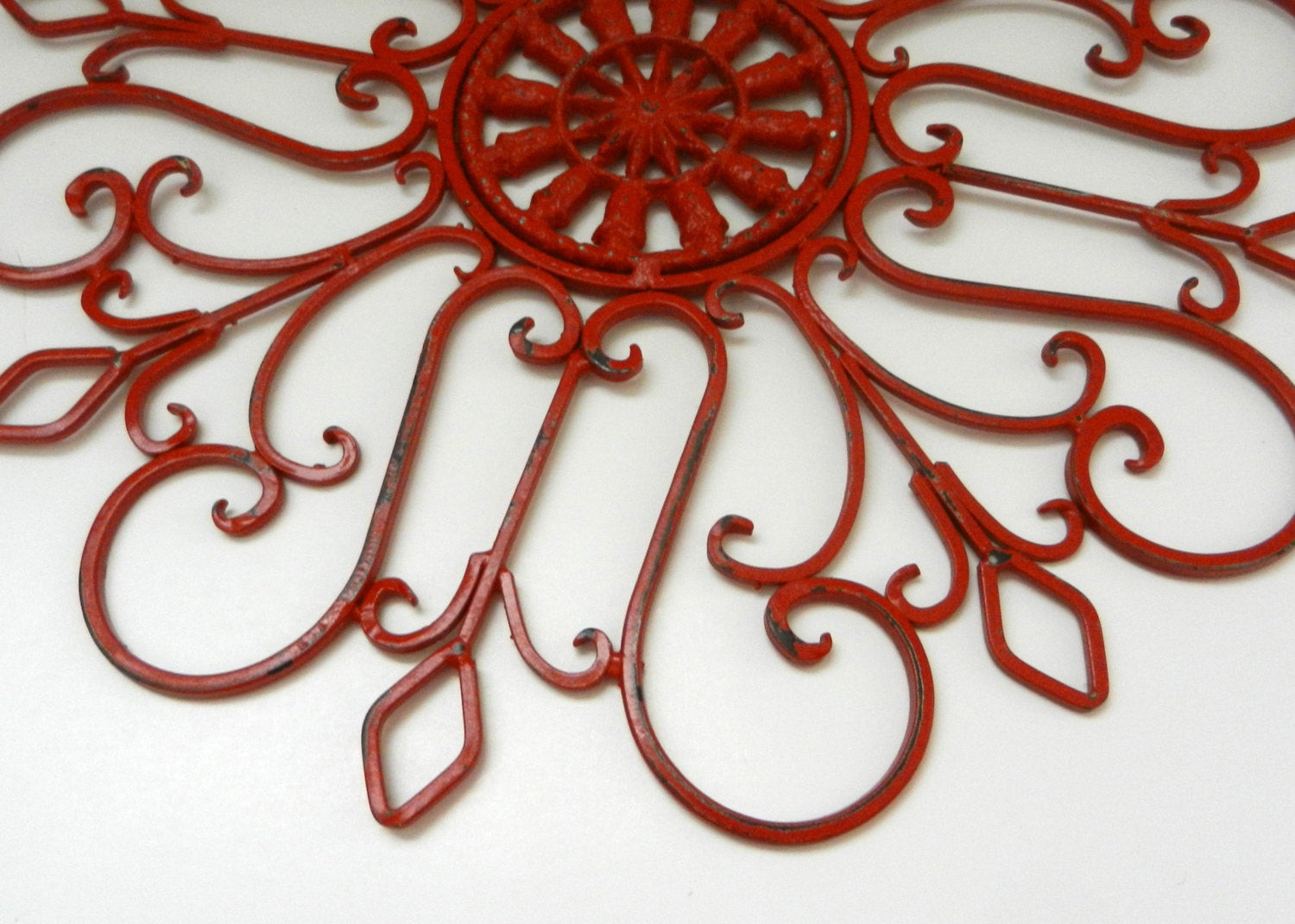 Best ideas about Red Wall Art . Save or Pin Metal Garden Decor Wall Medallion Fence Decoration Yard Art Now.