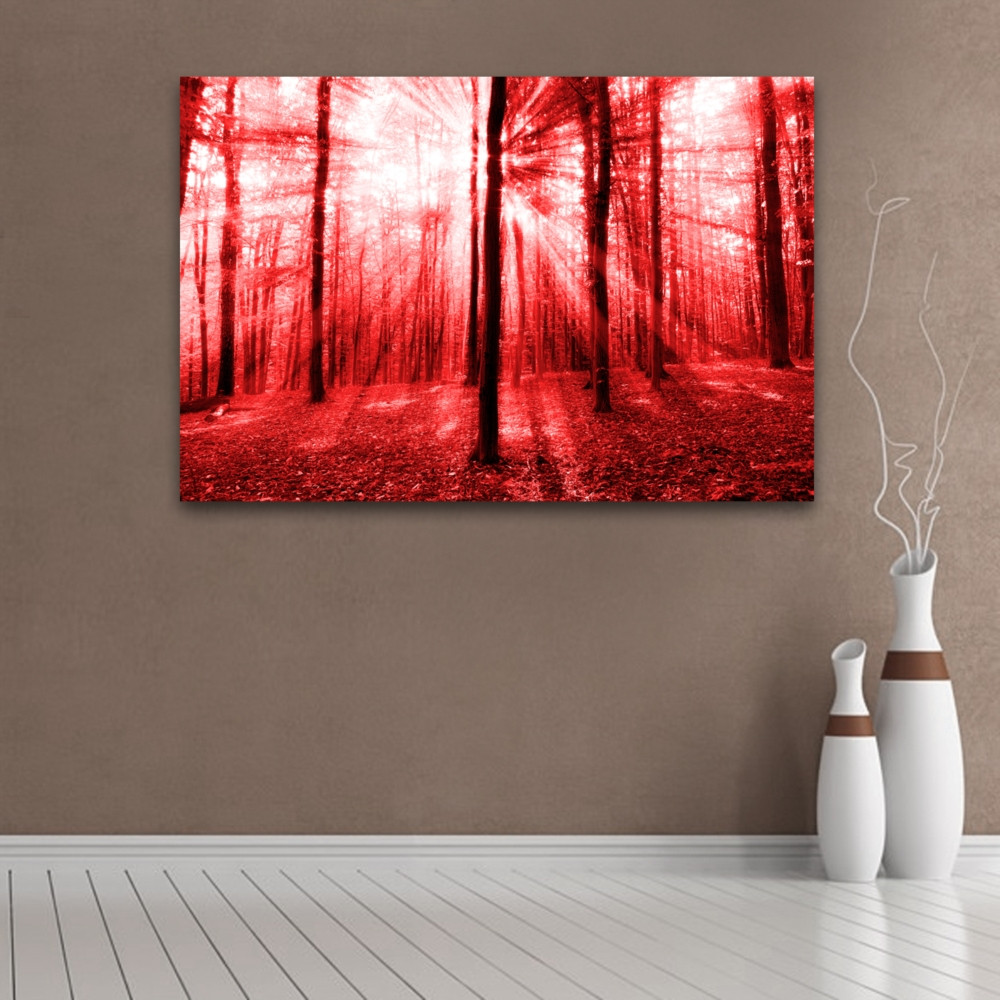 Best ideas about Red Wall Art . Save or Pin Sunlight Through The Trees Red Wall Art Now.