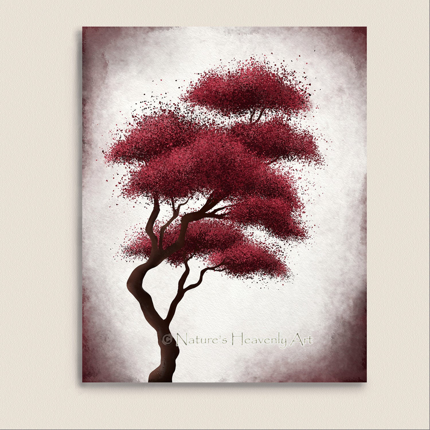 Best ideas about Red Wall Art . Save or Pin Japanese Bonsai Tree Art Red Wall Decor by NaturesHeavenlyArt Now.