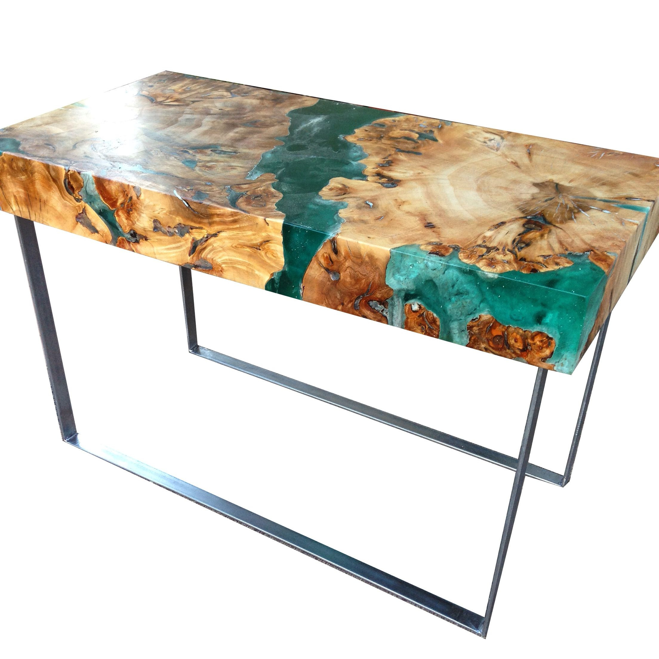Best ideas about Resin Coffee Table . Save or Pin Resin and wood coffee table welded steel legs Now.