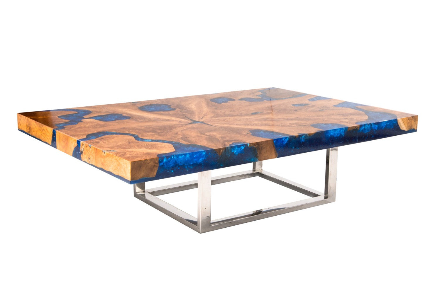 Best ideas about Resin Coffee Table . Save or Pin Blue Cracked Resin Coffee Table Now.