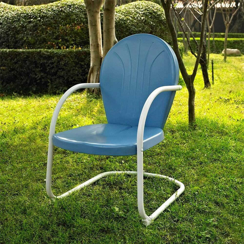 Best ideas about Retro Patio Furniture . Save or Pin Blue White OUTDOOR METAL RETRO VINTAGE STYLE CHAIR Patio Now.