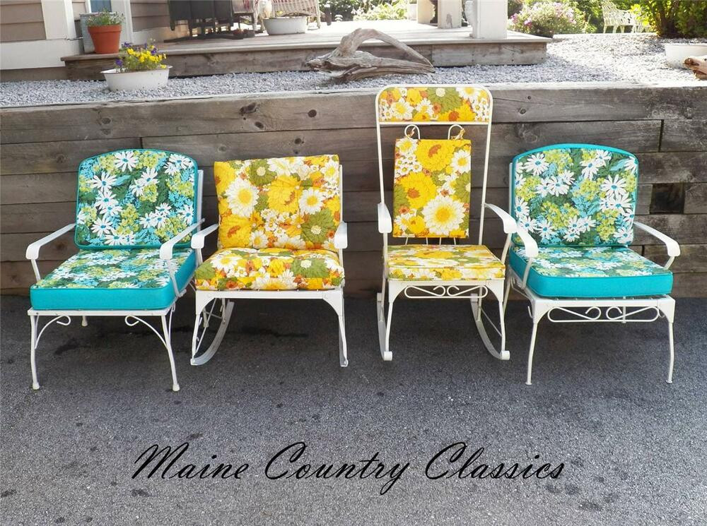 Best ideas about Retro Patio Furniture . Save or Pin Vintage MID CENTURY WROUGHT IRON GARDEN PATIO SEATING SET Now.