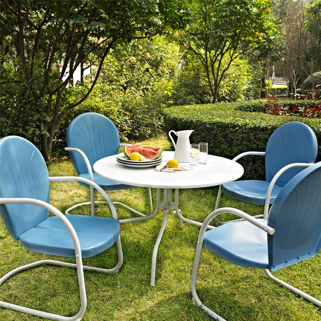 Best ideas about Retro Patio Furniture . Save or Pin Blue White OUTDOOR METAL RETRO 5 PIECE DINING TABLE Now.