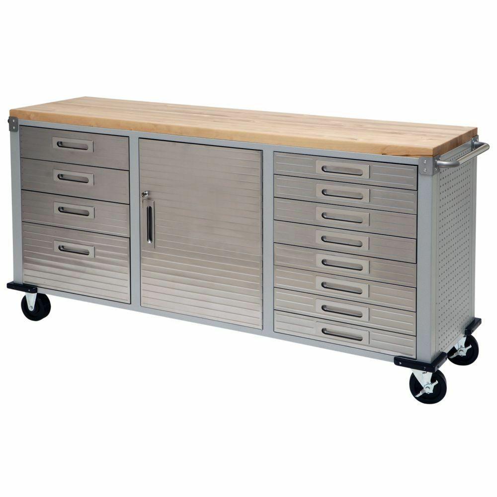 Best ideas about Rolling Storage Cabinet . Save or Pin Heavy Duty Garage Rolling Wooden Workbench Metal Steel Now.