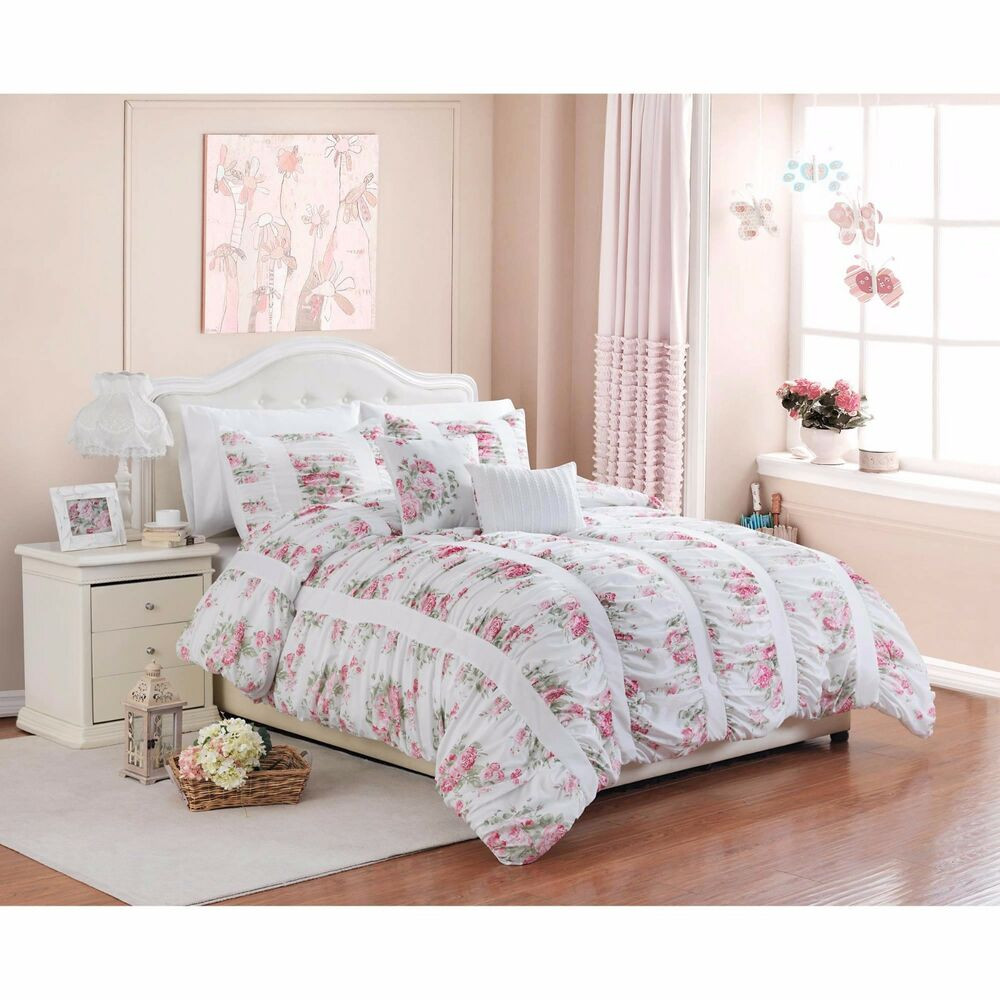 Best ideas about Roses Bedroom Set . Save or Pin 5 Piece Floral Print Rose Ruffle Ruching Vintage Bedding Now.
