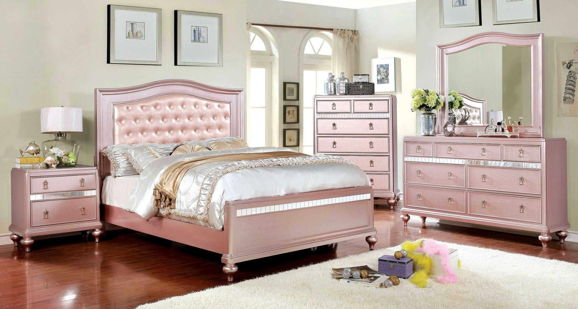Best ideas about Roses Bedroom Set . Save or Pin Ariston Rose Gold Youth Upholstered Panel Bedroom Set from Now.