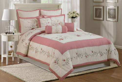Best ideas about Roses Bedroom Set . Save or Pin forter Set Queen 7 Piece Embroidery Rose Polyester Now.