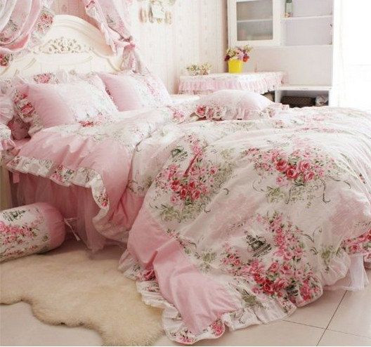 Best ideas about Roses Bedroom Set . Save or Pin Home Textile Romantic Pink Rose floral Bedding Sets Blue Now.