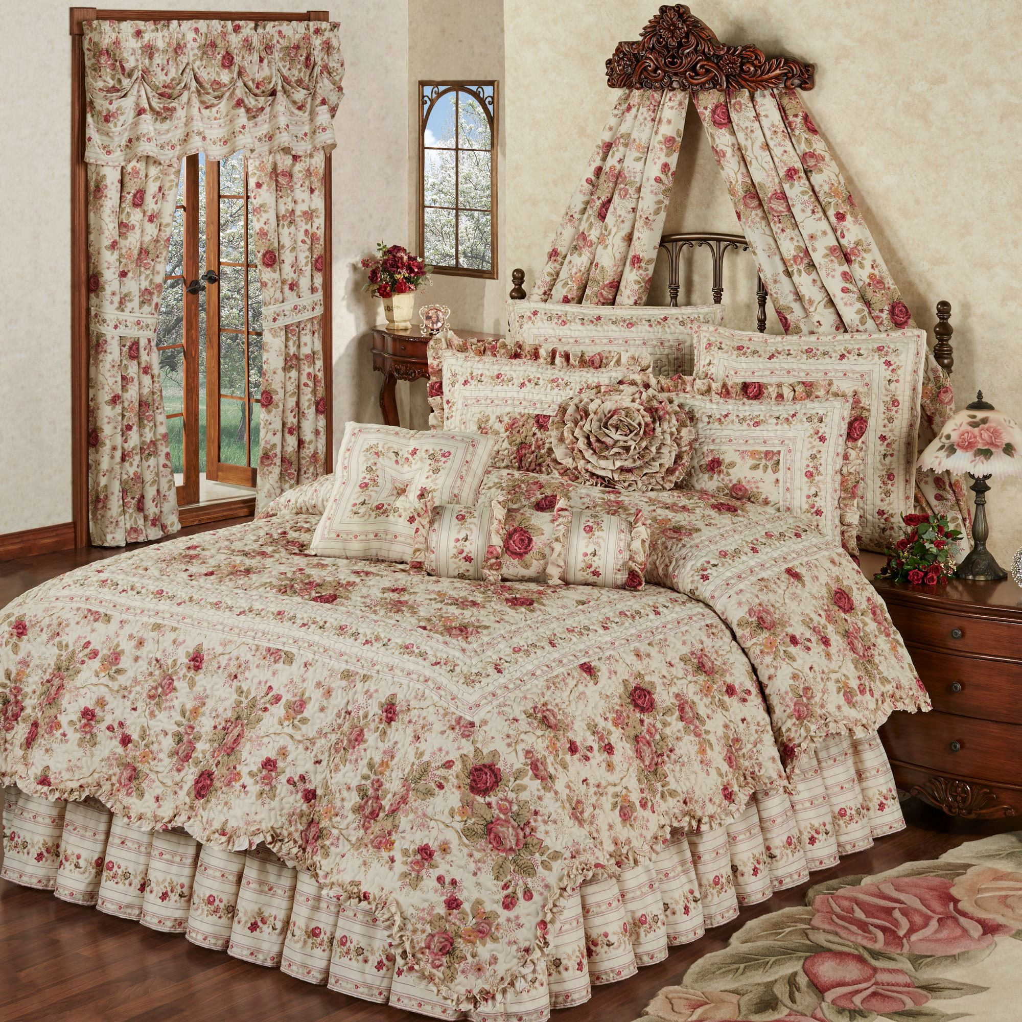 Best ideas about Roses Bedroom Set . Save or Pin Heirloom Rose 4 pc Floral Quilt Set Now.