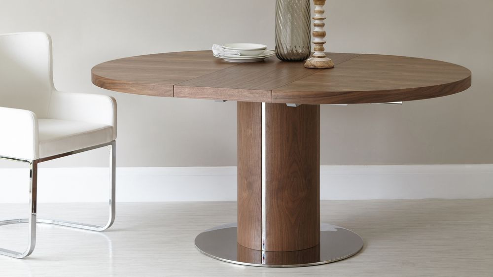Best ideas about Round Extendable Dining Table . Save or Pin Round Walnut Extending Dining Table Pedestal Base Now.
