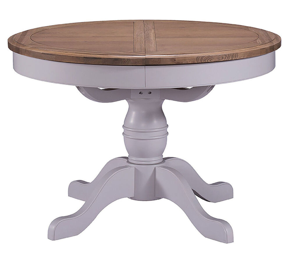 Best ideas about Round Extendable Dining Table . Save or Pin Grey Painted & Oak Extending Round Dining Table Now.