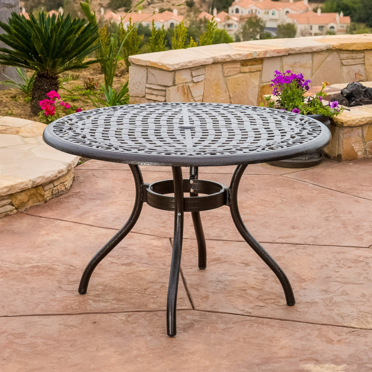 Best ideas about Round Patio Dining Table . Save or Pin Covington Cast Aluminum 5 Piece Outdoor Dining Set with Now.