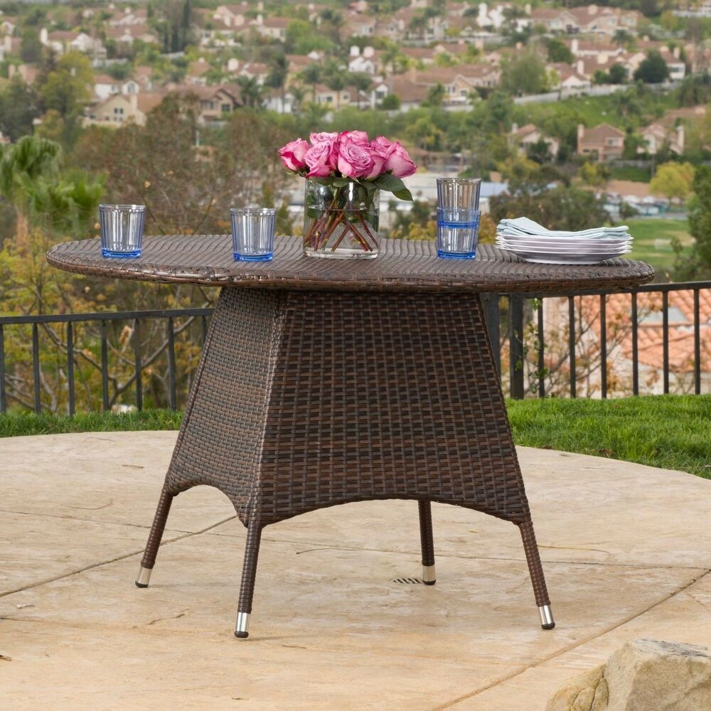 Best ideas about Round Patio Dining Table . Save or Pin Outdoor Brown Wicker Round Dining Table Now.