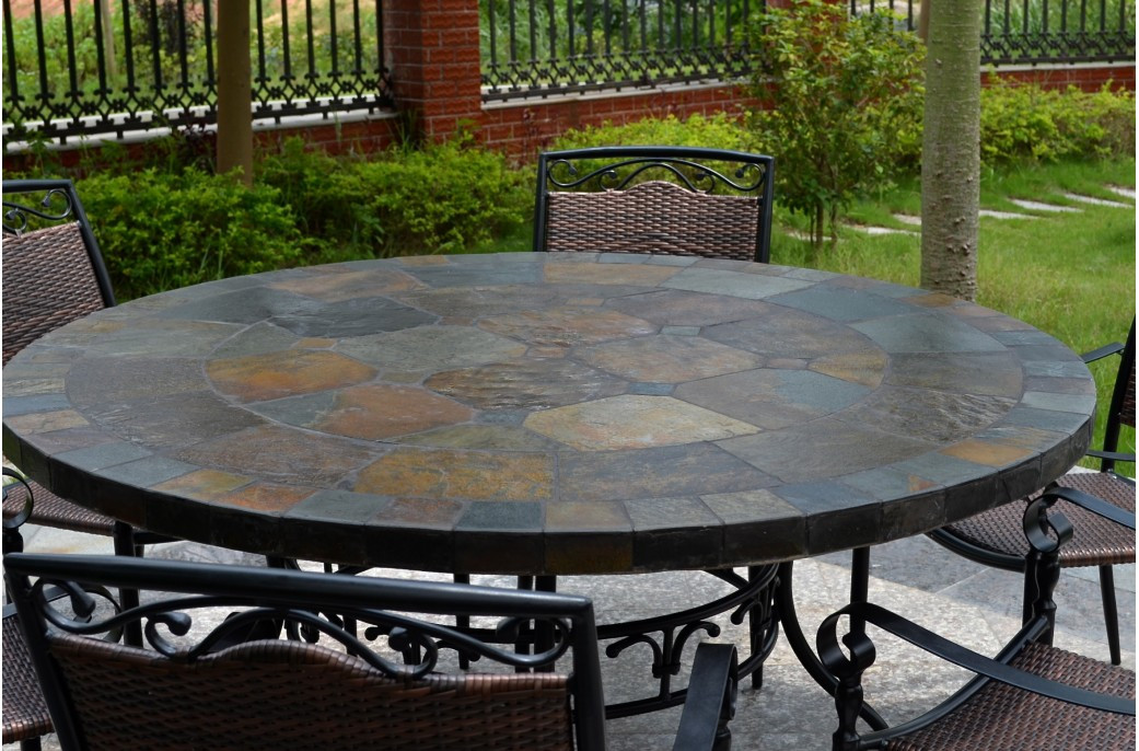 Best ideas about Round Patio Table . Save or Pin 63 Round Slate Outdoor Patio Dining Table Stone OCEANE Now.