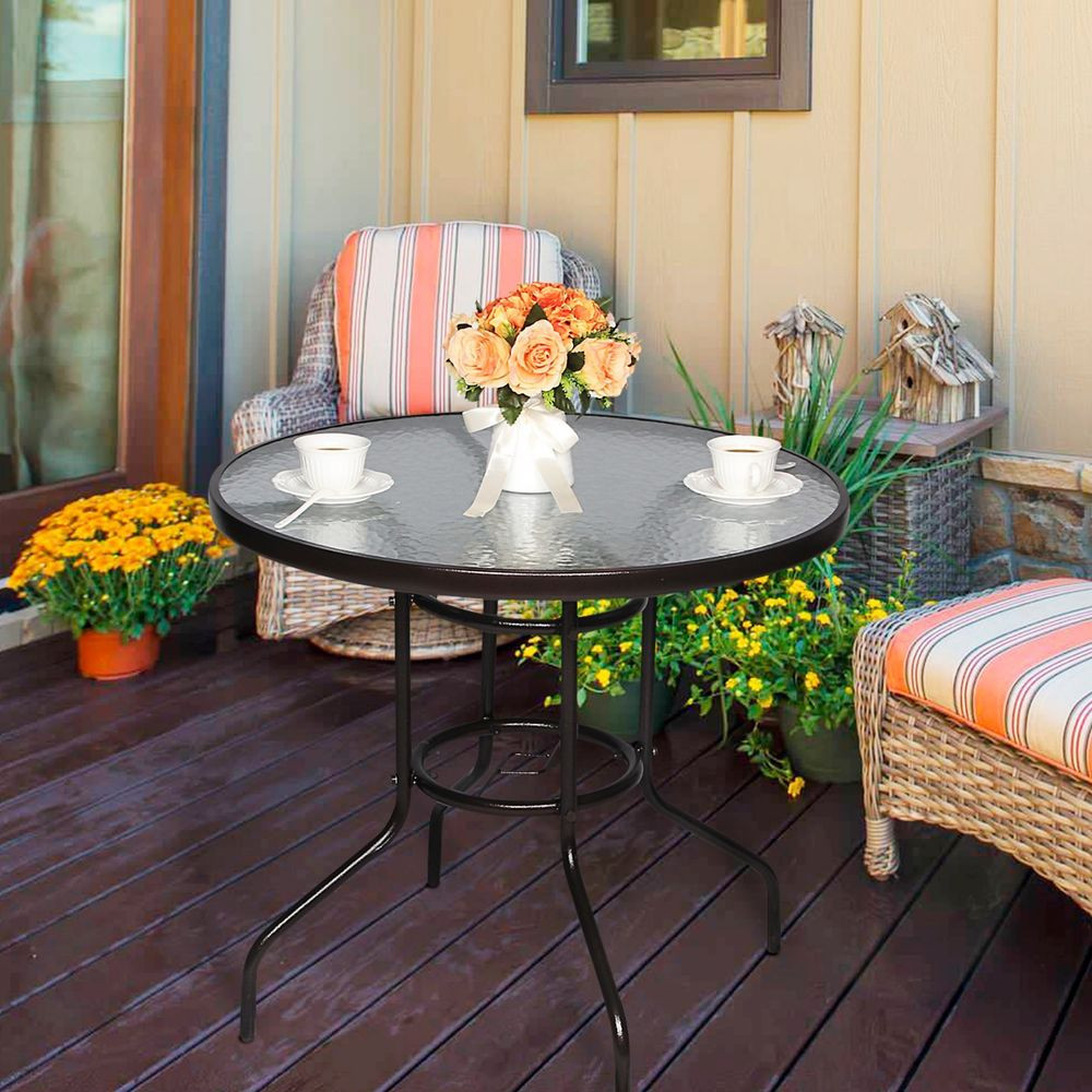 """Best ideas about Round Patio Table . Save or Pin 32"""" Tempered Glass Top Umbrella Stand Table Patio Round Now."""