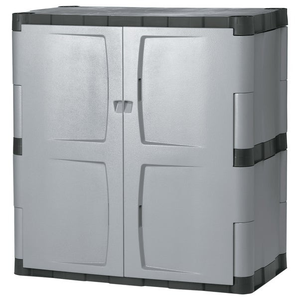 Best ideas about Rubbermaid Storage Cabinets . Save or Pin Rubbermaid Grey Black Double door Storage Cabinet Free Now.