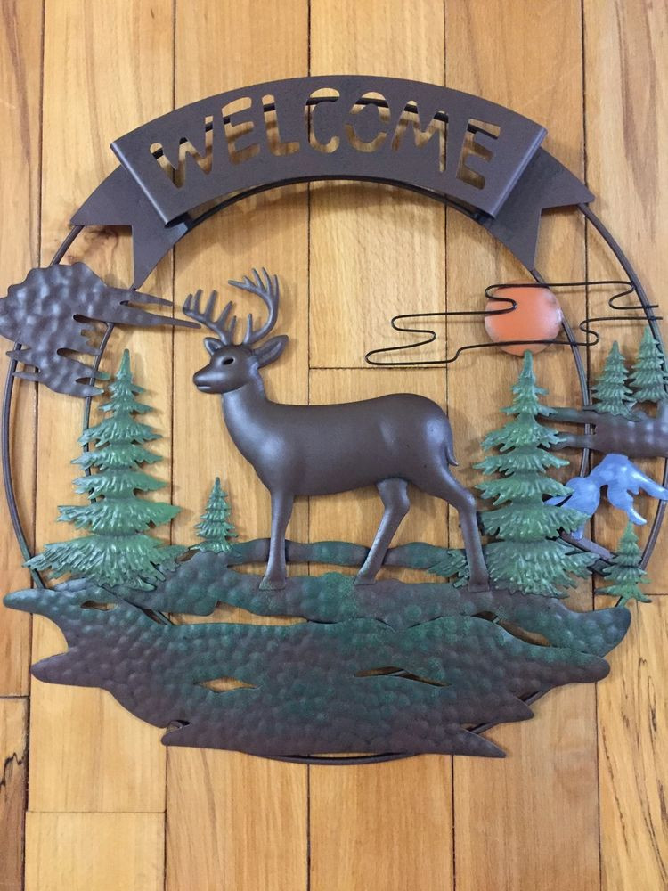 Best ideas about Rustic Metal Wall Art . Save or Pin Rustic Wel e Deer 3D Metal Wall Decor Sunset Evergreen Now.
