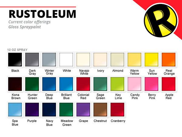 Best ideas about Rustoleum Spray Paint Colors . Save or Pin Rustoleum Enamel Spray Paint Color Chart Now.