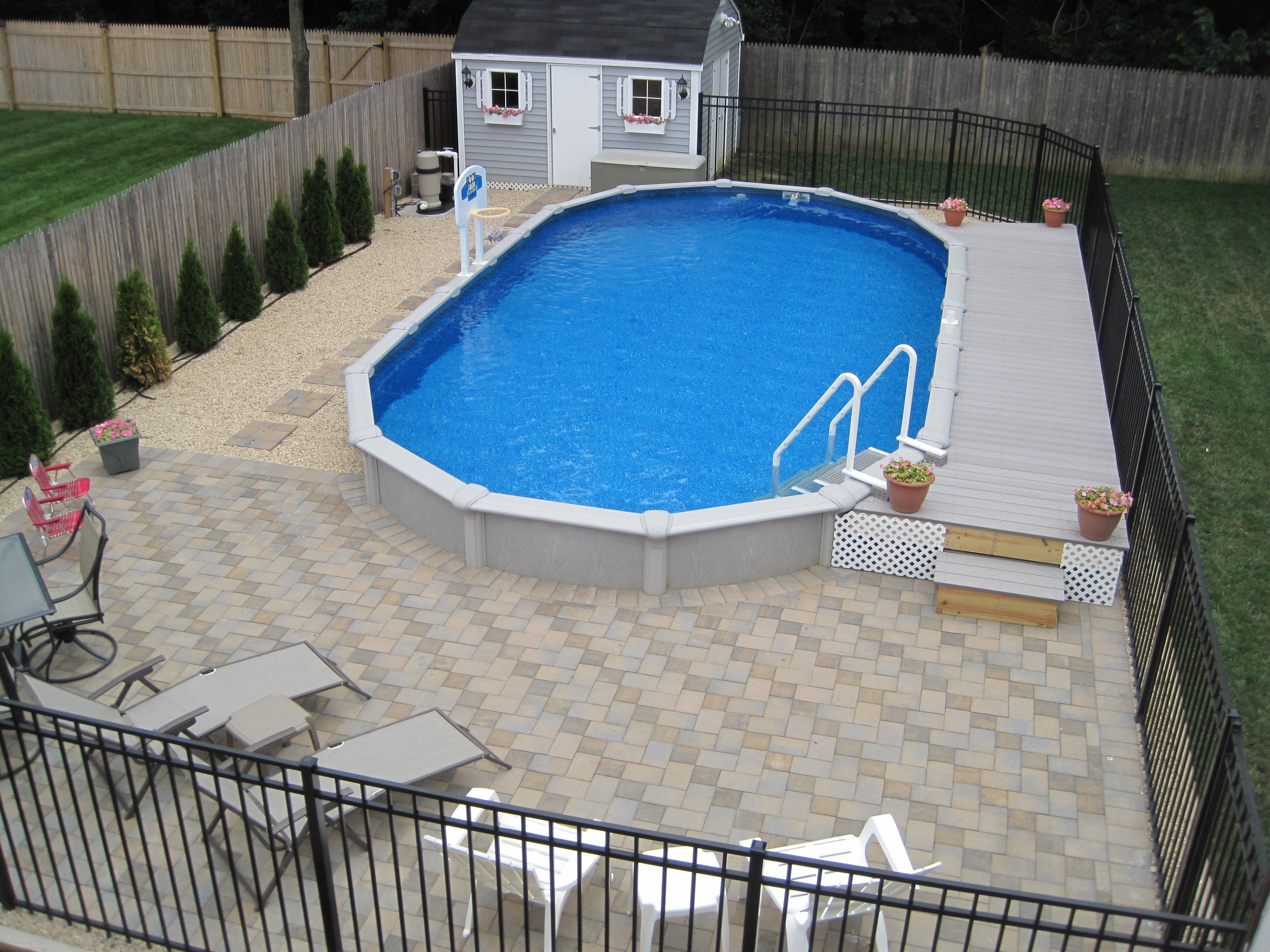 Best ideas about Semi Inground Pool With Deck . Save or Pin 15x30 Sharkline semi inground pool with deck and pavers Now.