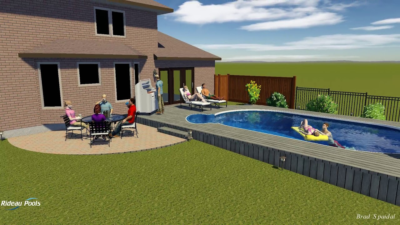 Best ideas about Semi Inground Pool With Deck . Save or Pin 15 x 27 Semi Inground with Wooden Deck by Rideau Pools Now.