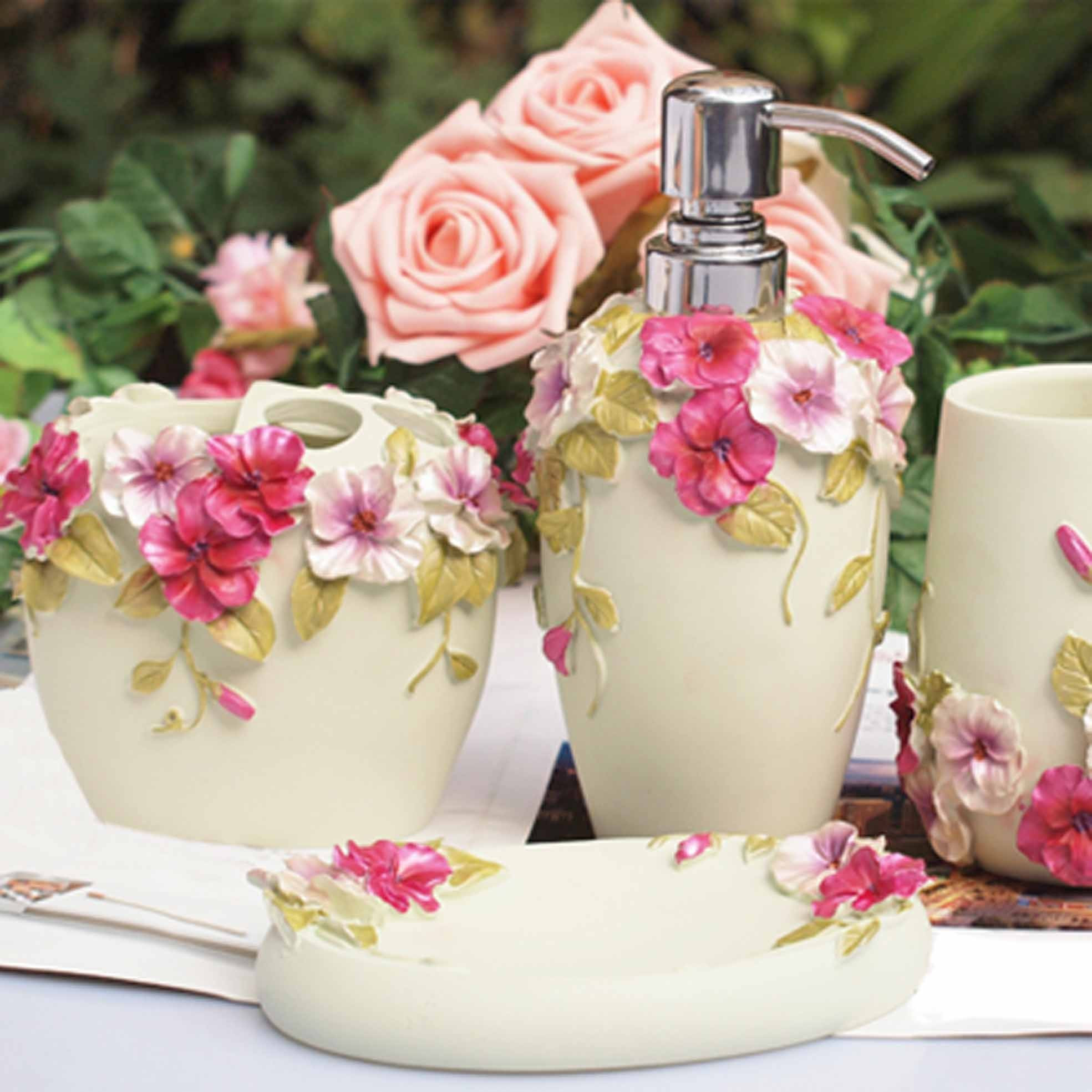 Best ideas about Shabby Chic Bathroom Accesories . Save or Pin shabby chic white bathroom set Now.
