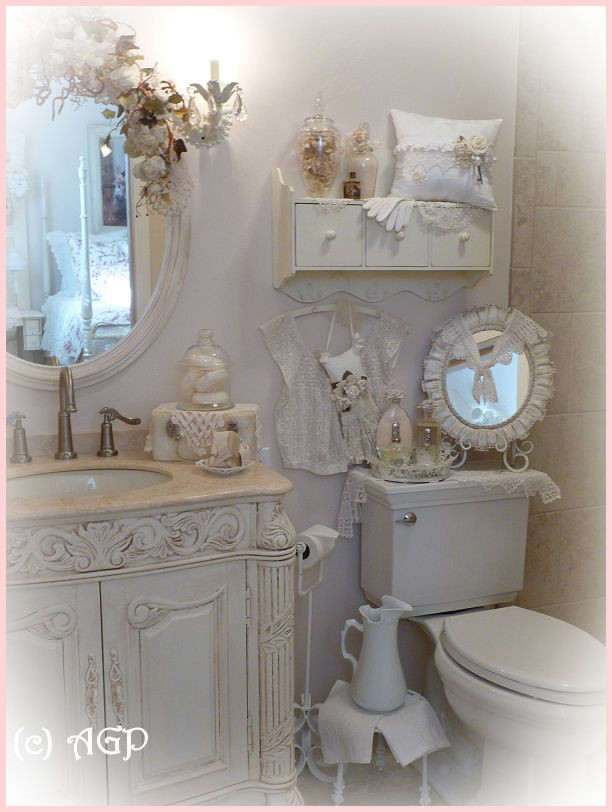 Best ideas about Shabby Chic Bathroom Accesories . Save or Pin SHABBY COTTAGE CHIC SHELF and MORE Bathroom Makeover Pics Now.