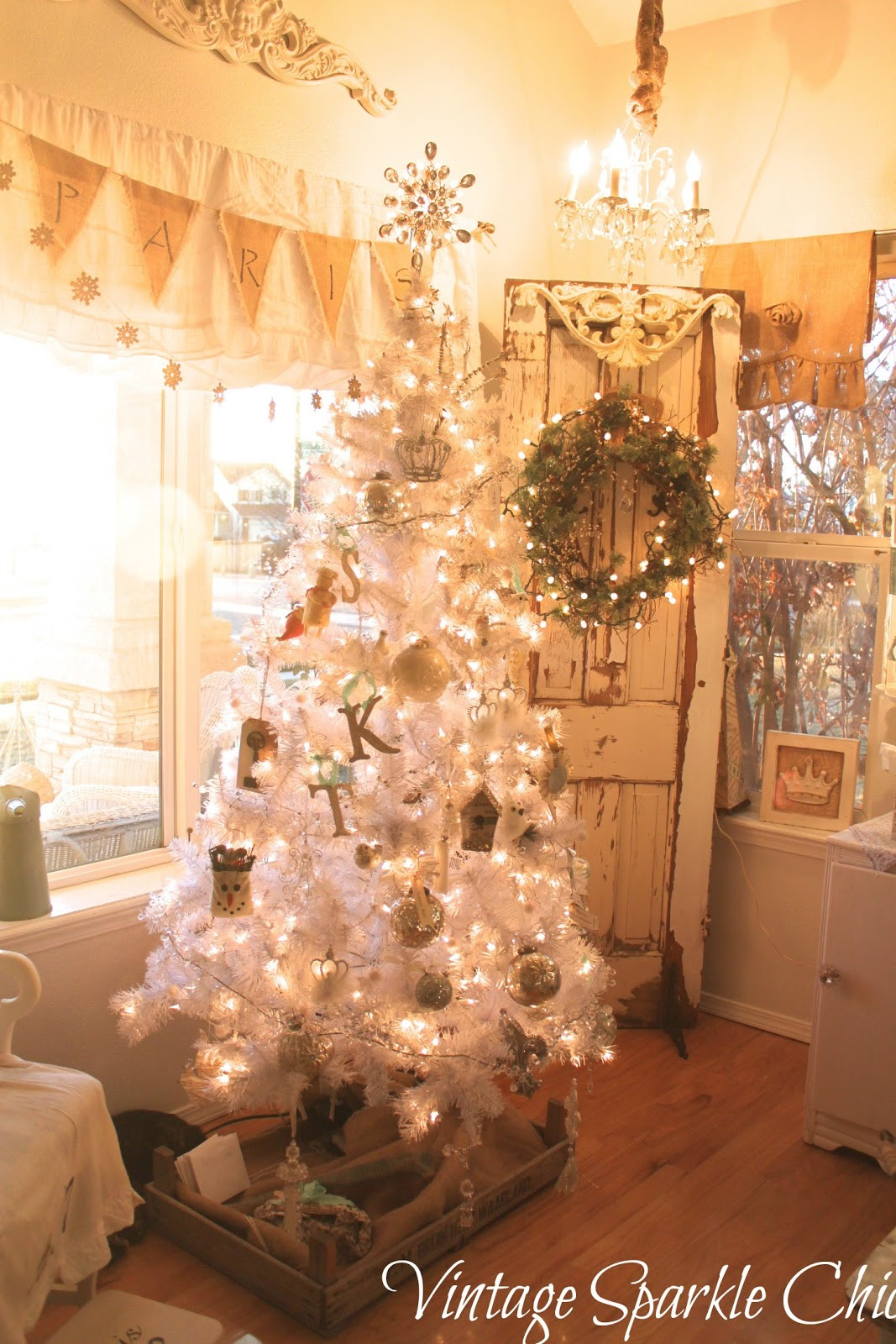 Best ideas about Shabby Chic Christmas . Save or Pin Vintage Sparkle Chic French Shabby Christmas decorations Now.