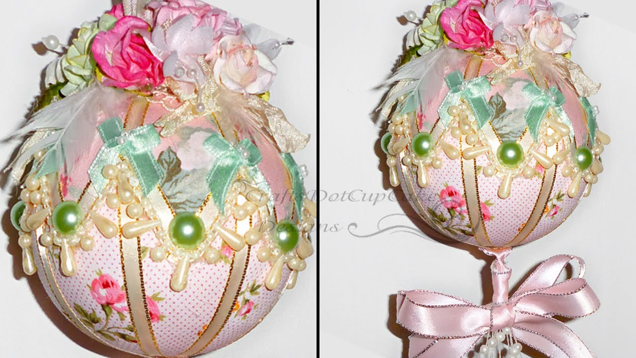 Best ideas about Shabby Chic Christmas . Save or Pin Tutorial Shabby Chic Christmas Ornament Bauble Now.