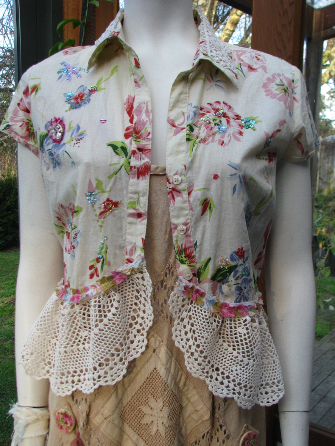 Best ideas about Shabby Chic Clothing . Save or Pin Boho Blouse Altered Couture Shabby Chic Upcycled Clothing Now.
