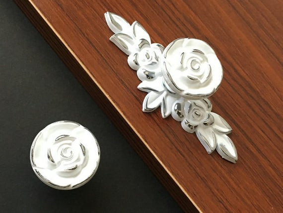 Best ideas about Shabby Chic Drawer Pull . Save or Pin Shabby Chic Dresser Drawer Knobs Pulls Handles White Silver Now.