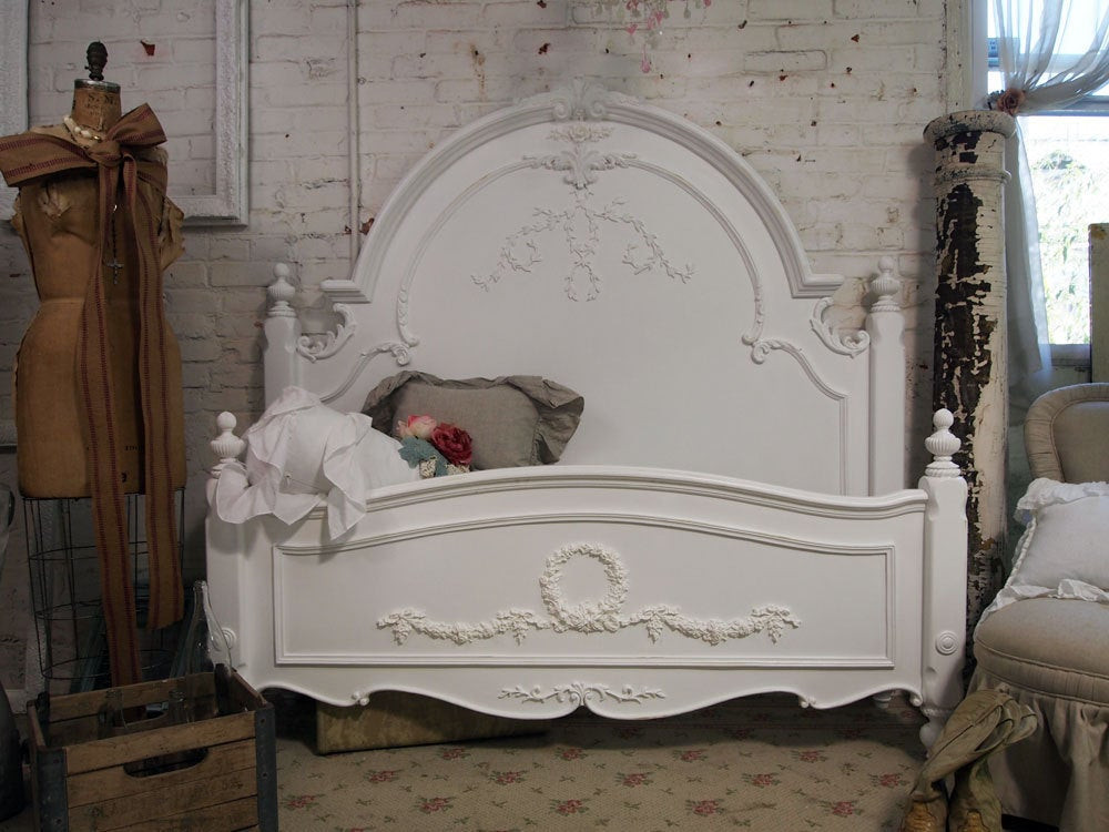 Best ideas about Shabby Chic Headboard . Save or Pin Painted Cottage Chic Shabby White Queen Romance Bed BD205 Now.