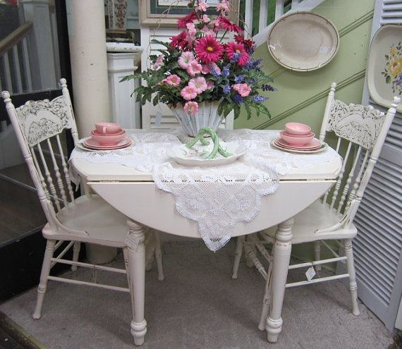 Best ideas about Shabby Chic Kitchen Table . Save or Pin Vintage Shabby Chic Round Kitchen Table Drop Leaf Hand Now.