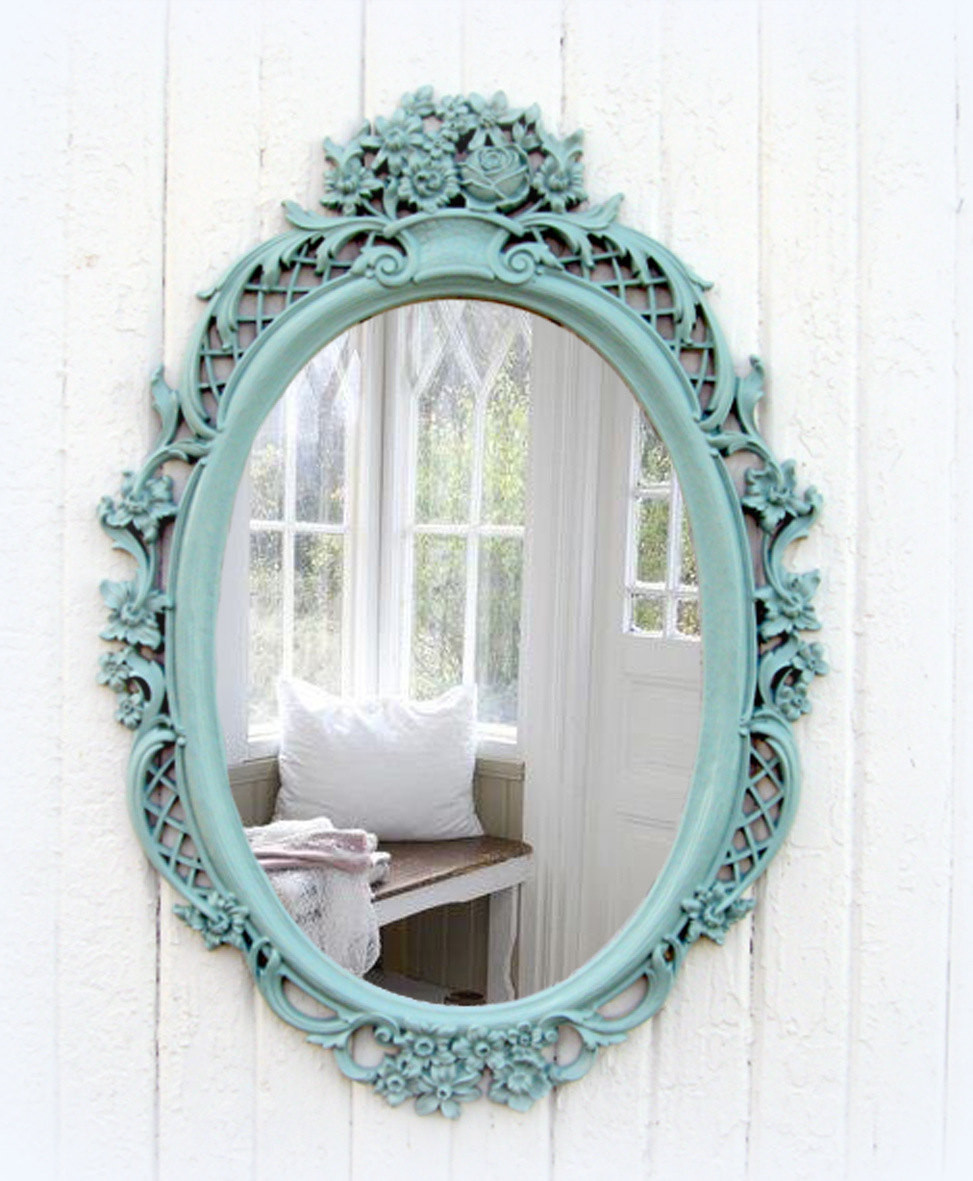 Best ideas about Shabby Chic Mirror . Save or Pin Vintage Mint Oval Mirror Shabby Chic Beach Cottage Now.