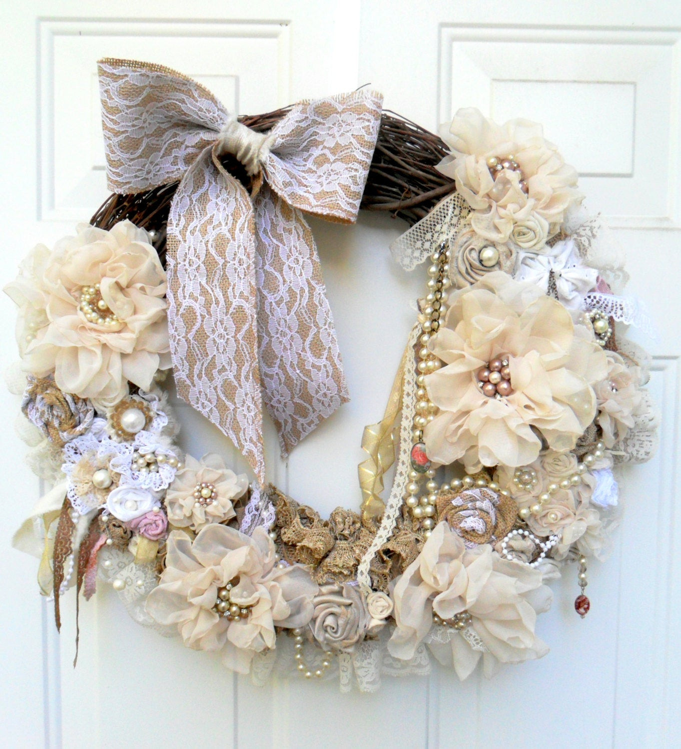 Best ideas about Shabby Chic Wreath . Save or Pin shabby wreath cottage wreath Christmas by DownSouthChicDecor Now.
