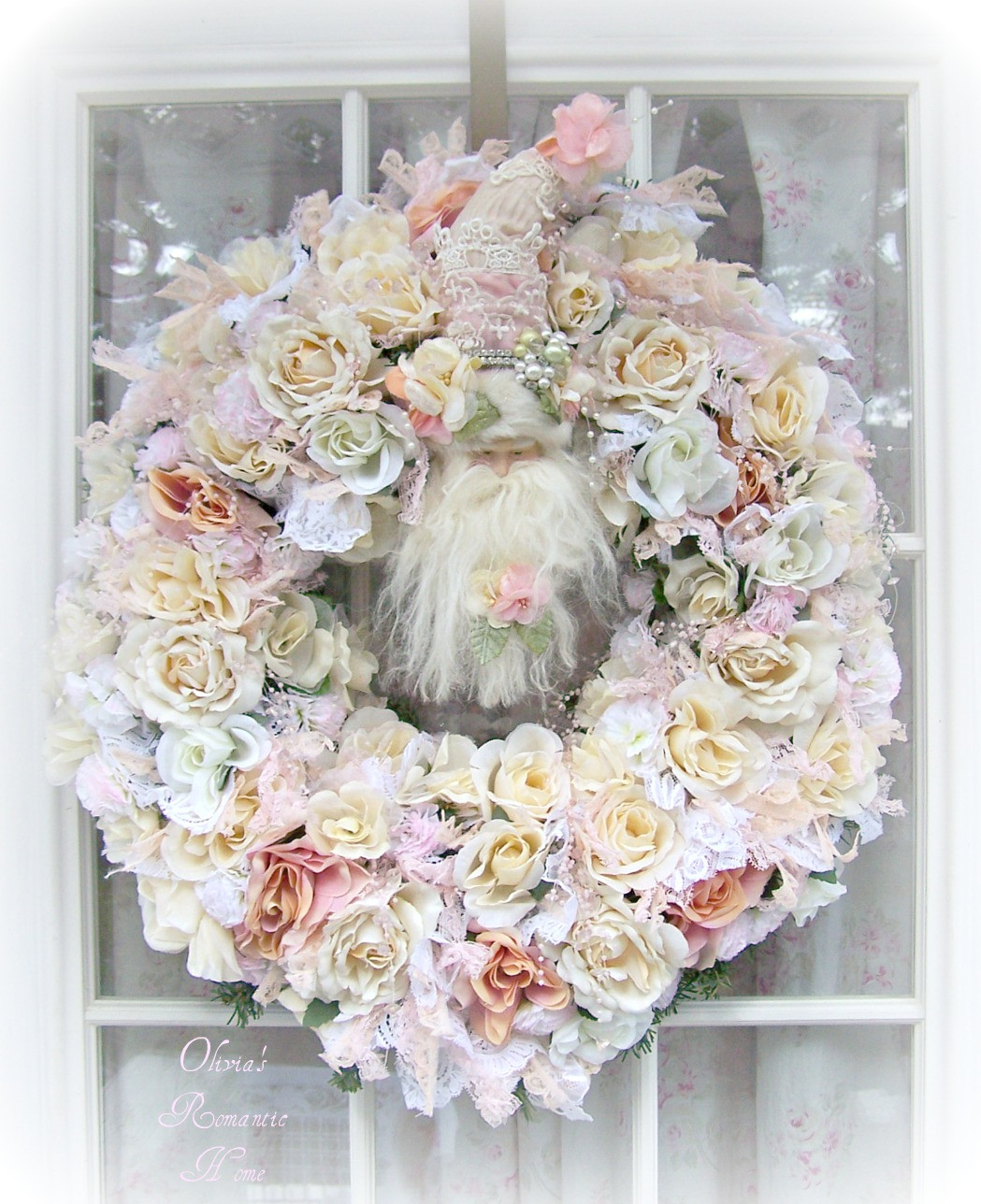 Best ideas about Shabby Chic Wreath . Save or Pin Olivia s Romantic Home Shabby Chic White Christmas Santa Now.