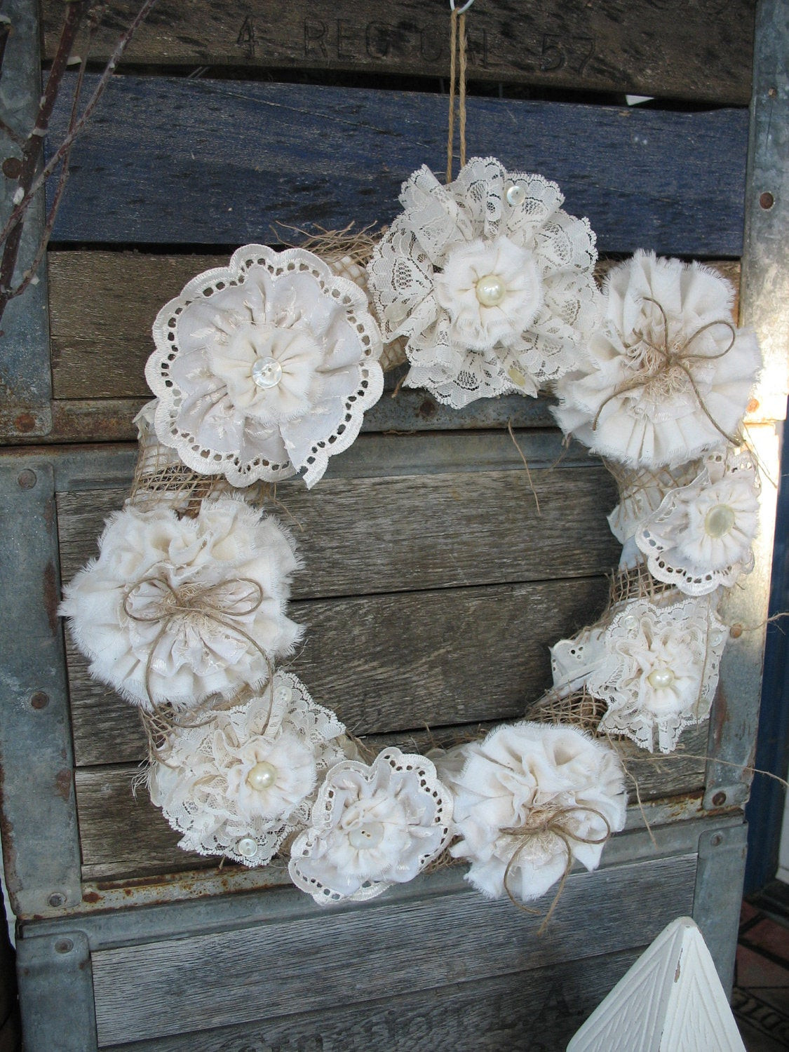 Best ideas about Shabby Chic Wreath . Save or Pin Wreath Burlap Wreath Shabby Chic Wreath Lace Flower Now.